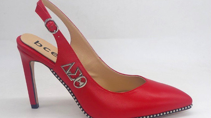 Red Slingback Heel with Silver ΔΣΘ buckle