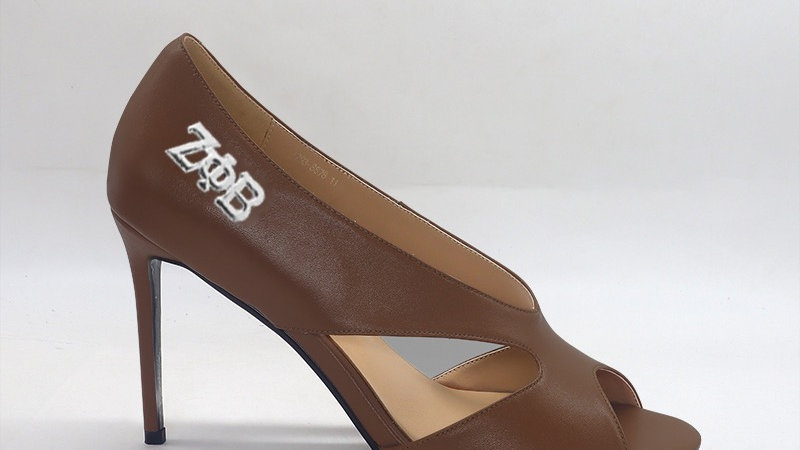 ΖΦB Mocha Genuine leather 4 in heels silver embedded buckle