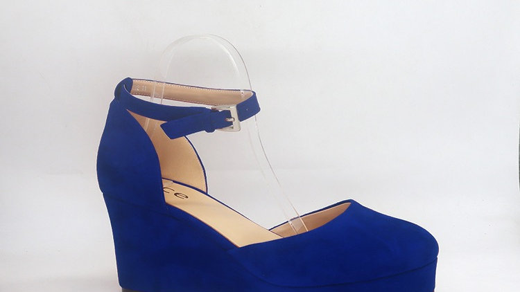 Blue Suede Wedges