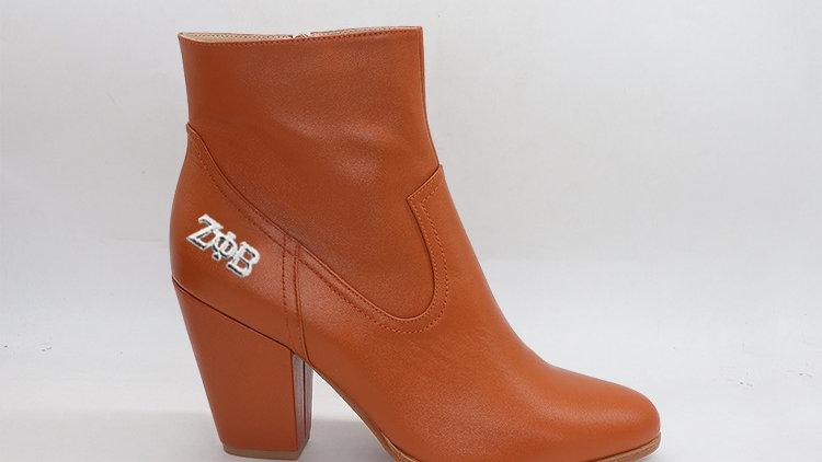 ΖΦΒ  Brown Genuine Leather Boots with silver buckle