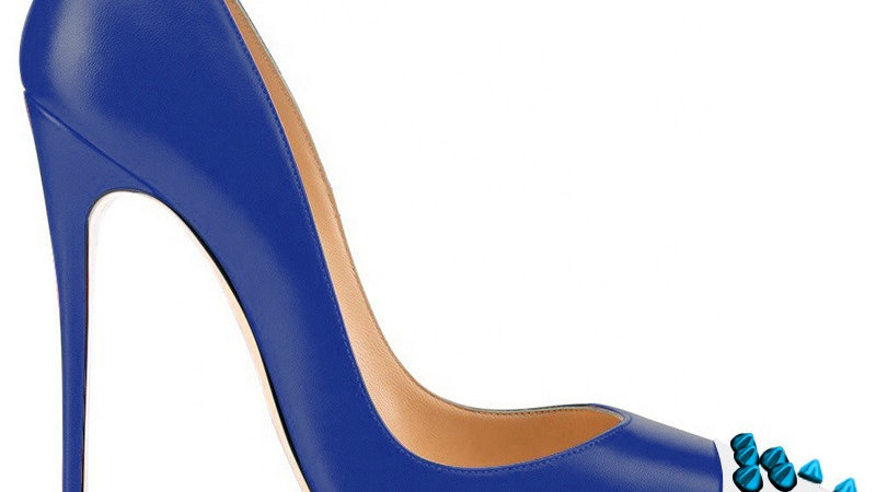 Blue/White Genuine Leather heel with Blue  Spikes