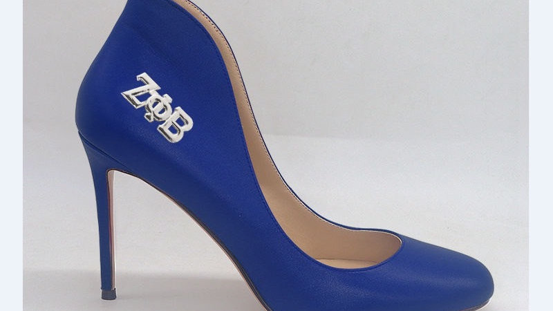 Blue Genuine Leather 4in heels with silver buckle