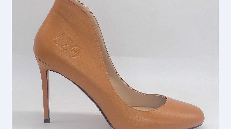 Cappuccino Genuine Leather ΔΣΘ debossed 4in heels
