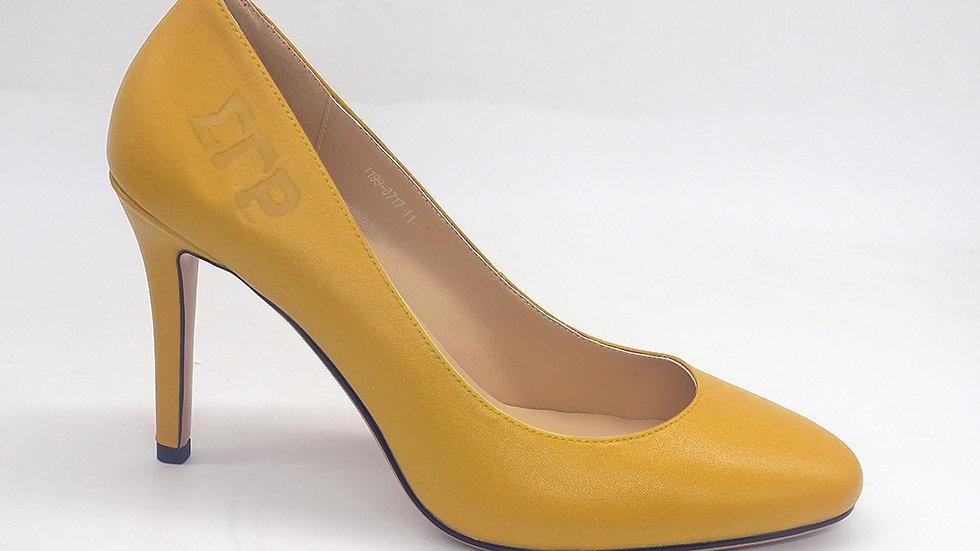 ΣΓΡ Yellow Genuine Leather Round Toe Debossed heels