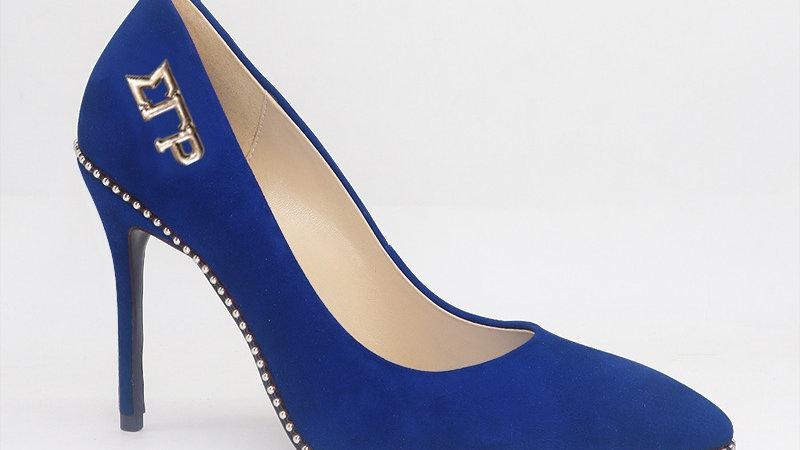 ΣΓΡ Blue Genuine Suede Leather Heels with Gold Buckle
