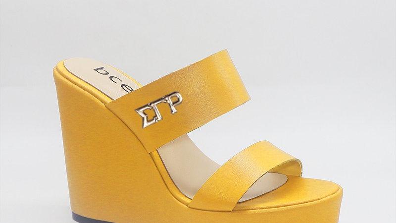 ΣΓΡ Yellow Genuine Leather Wedges with gold embedded buckle