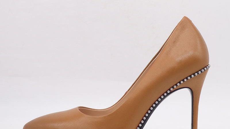 Cappuccino Genuine Leather debossed heels
