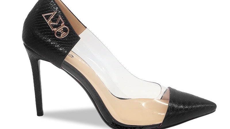 ΔΣΘ Black Faux Snake Skin Heels