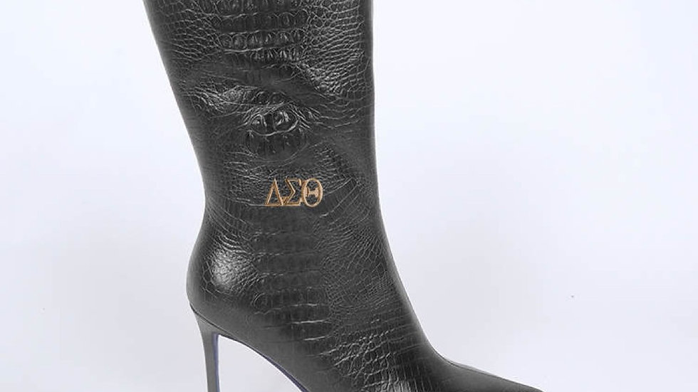 ΔΣΘ Black Genuine  Leather Boots Ships December 20th