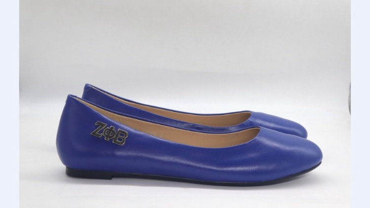 ΖΦΒ Genuine Leather Flat with silver buckle