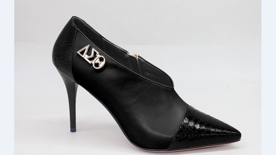 Black Genuine Leather and Faux Snake Skin Bootie with Silver Buckle