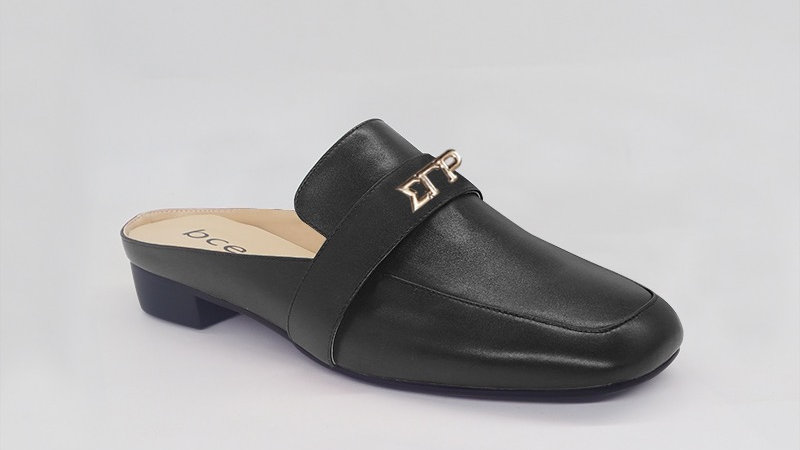 ΣΓΡ Black Genuine Leather Flats with gold embedde buckle