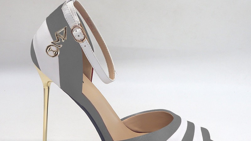ΔΣΘ Dark Gray/White Genuine Leather 5in heels with gold buckle