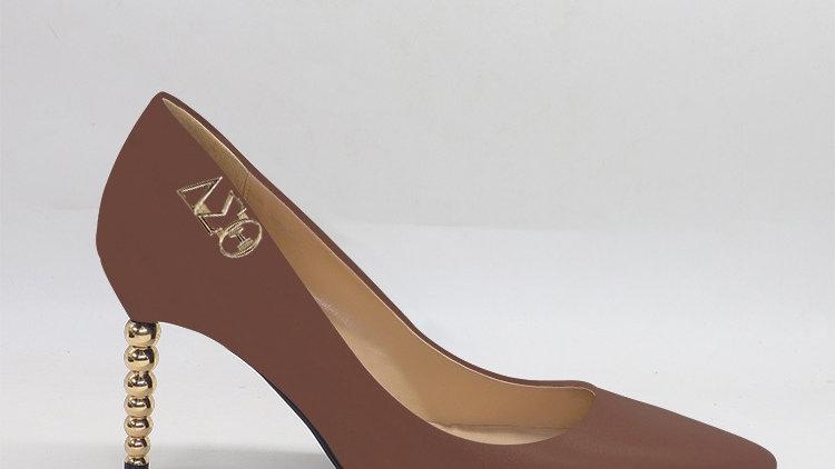 ΔΣΘ Mocha Genuine leather heels with gold  buckle