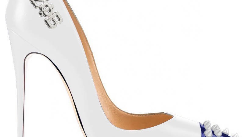 White/Blue Genuine Leather heels with White Studs/ Silver ΖΦΒ buckle