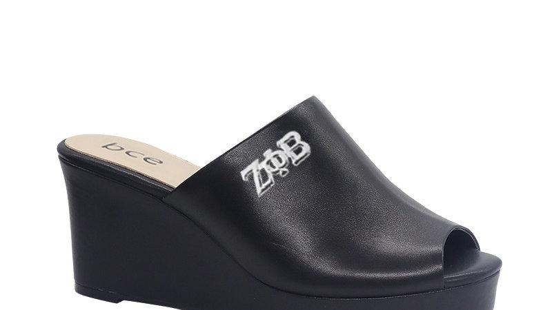 ΖΦΒ  Black Genuine Leather Wedges with silver embedde buckle