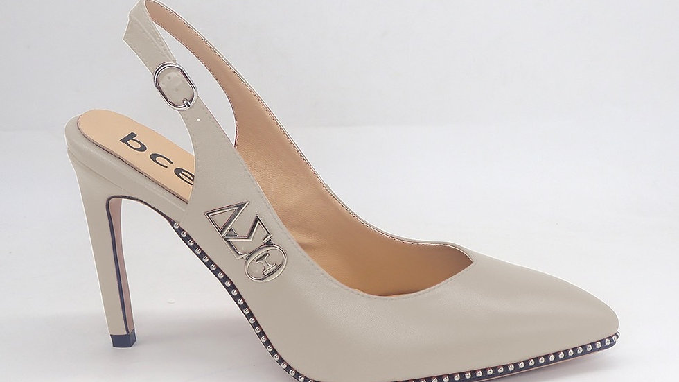 Light Gray Slingback Genuine Leather Heel with Silver ΔΣΘ buckle