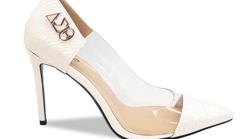 Cream Faux Snake Skin Heels
