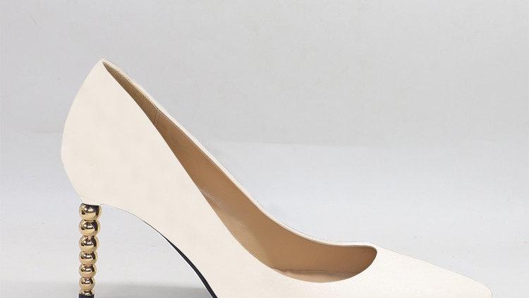 Cream Genuine leather heels