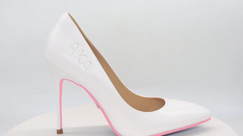 AKA White Genuine Leather heels with pink bottom