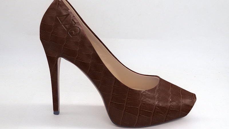 ΔΣΘ Mocha Croco Pattern Genuine Leather Debossed Platform Heels