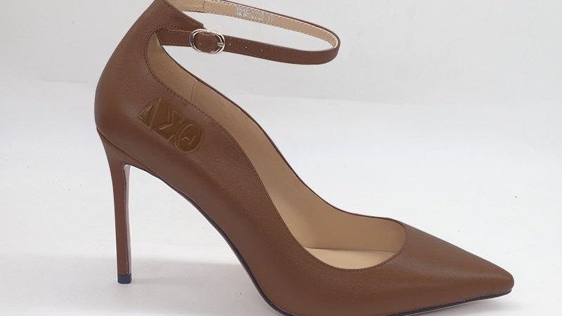 Mocha ΔΣΘ Genuine Leather debossed strap heels