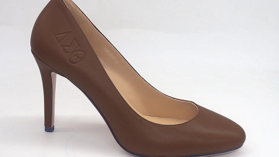 Mocha Round Toe ΔΣΘ Genuine Leather Debossed heels