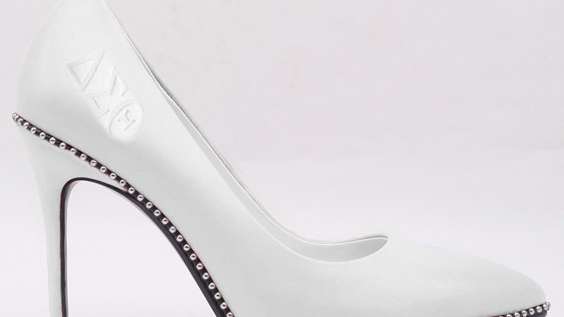 White ΔΣΘ Genuine Leather Debossed heels