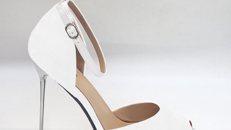 White Genuine Leather 5in heels