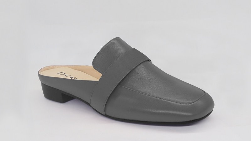 Gray Genuine Leather Flats