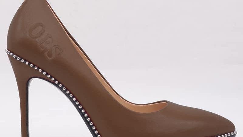 OES Mocha Genuine Leather debossed heels