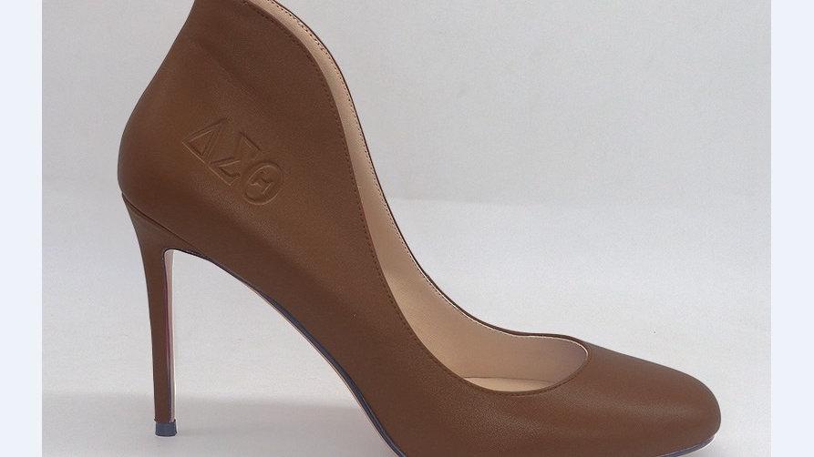 Mocha Genuine Leather ΔΣΘ debossed 4in heels
