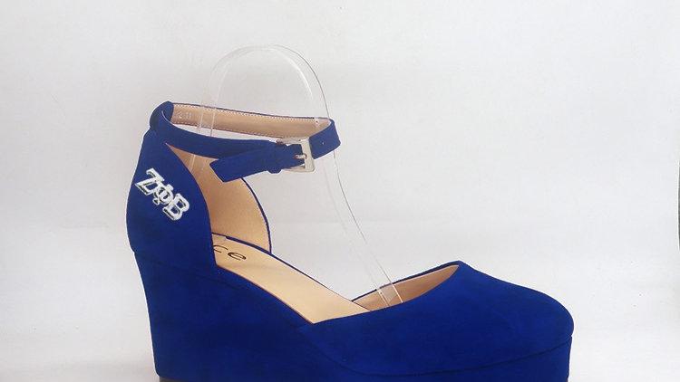 ΖΦΒ Blue Suede Wedges with silver buckle