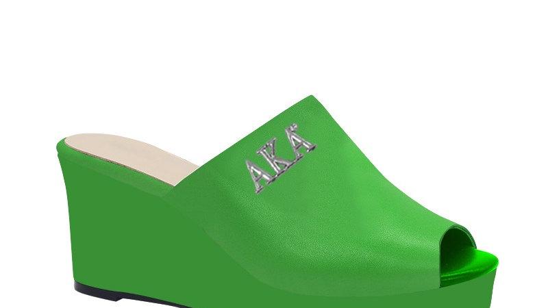 AKA Green Genuine Leather Wedges