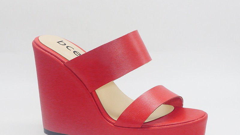 Red  Genuine Leather 5in Wedges