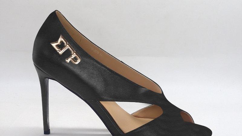 ΣΓΡ Black Genuine Leather 4in heels with gold  buckle