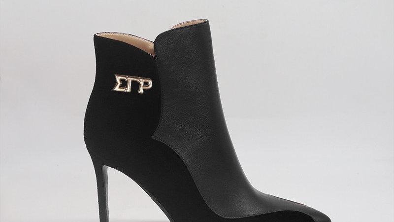ΣΓΡ Black Genuine Leather/Suede Leather 4in heels w/ gold  buckle