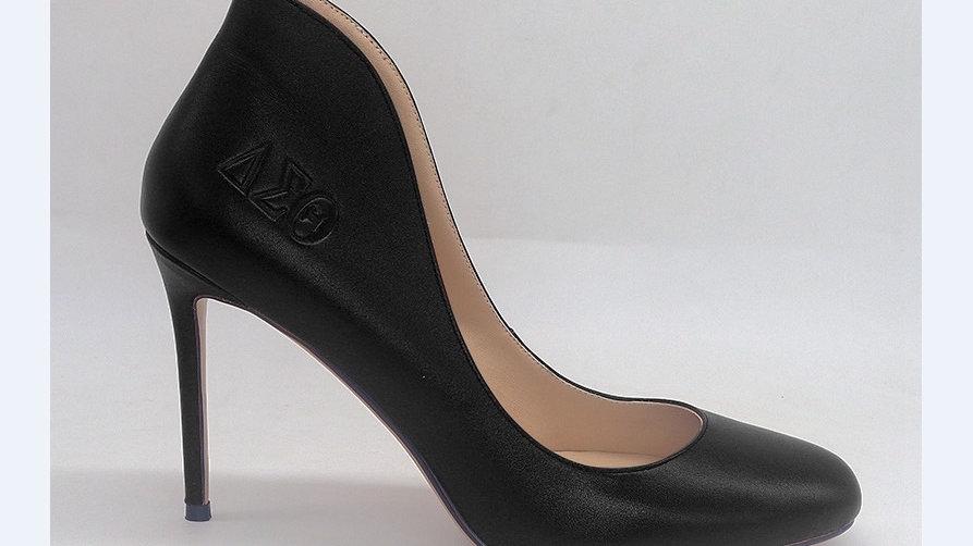Black Genuine Leather ΔΣΘ debossed 4in heels
