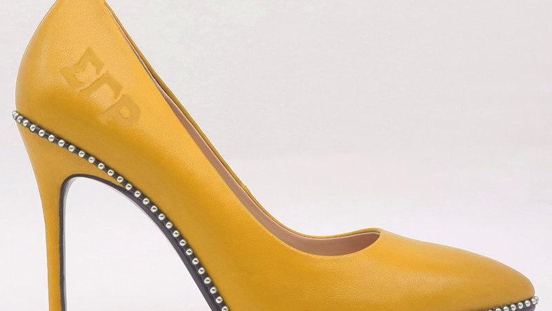 ΣΓΡ Yellow Genuine Leather debossed heels
