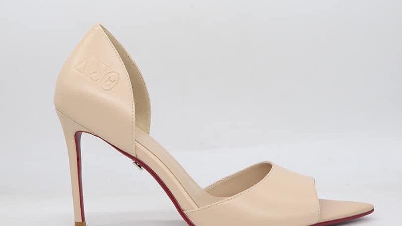 ΔΣΘ Beige Genuine Leather Heels