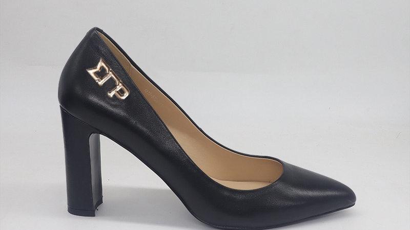 ΣΓΡ Black Genuine Leather Block 4in heels  with gold buckle