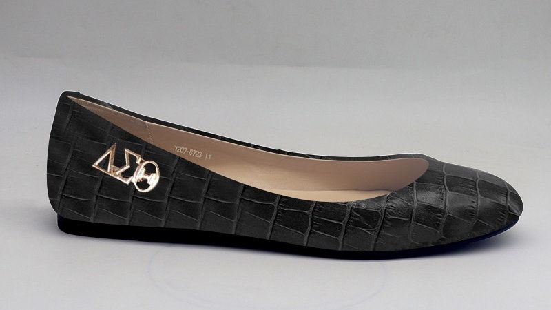 Black Croco Pattern Genuine Leather Flats with Gold ΔΣΘ buckle