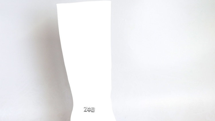 ΖΦΒ White Genuine  Leather 4in Boots  with silver buckle