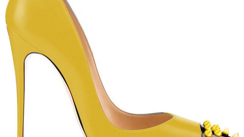 Yellow/Black Genuine Leather heels with yellow spikes