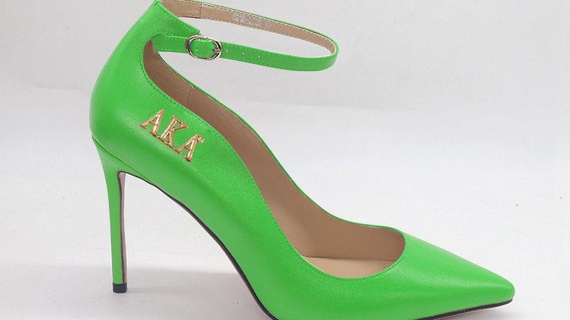 AKA Green Genuine Leather strap heel