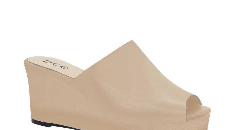 Beige  Genuine Leather Wedges