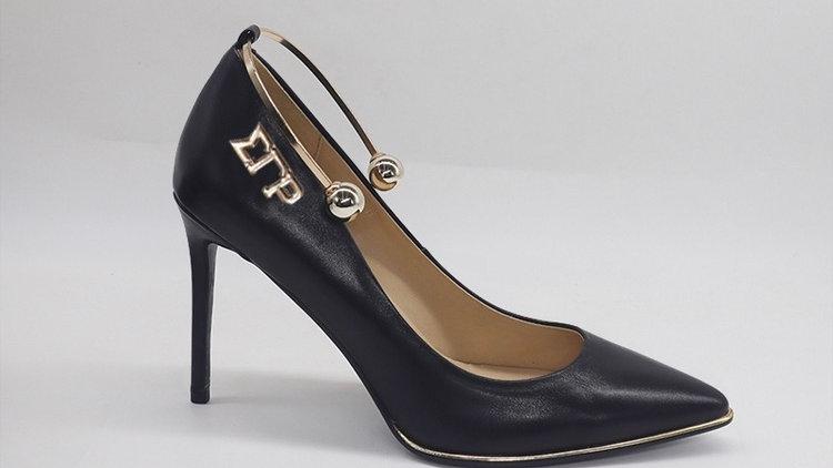 ΣΓΡ  Black Genuine Leather Heels with gold ankle bracelet
