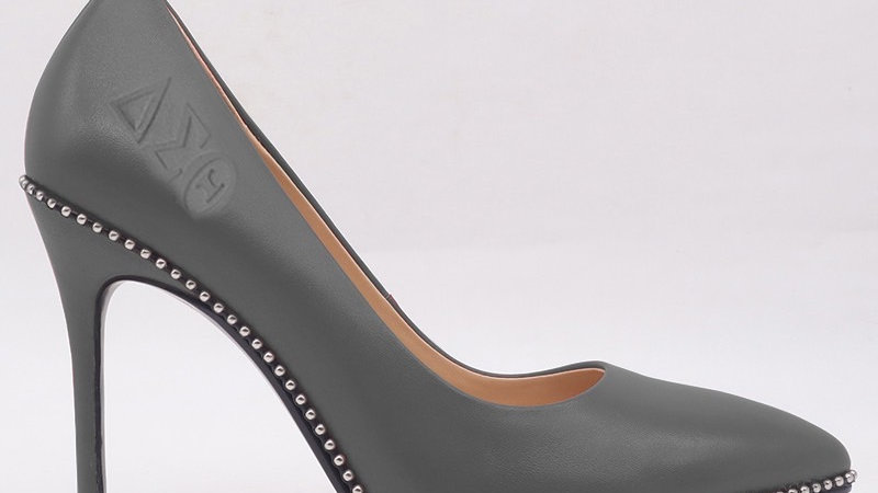 Dark Gray ΔΣΘ Genuine Leather Debossed heels
