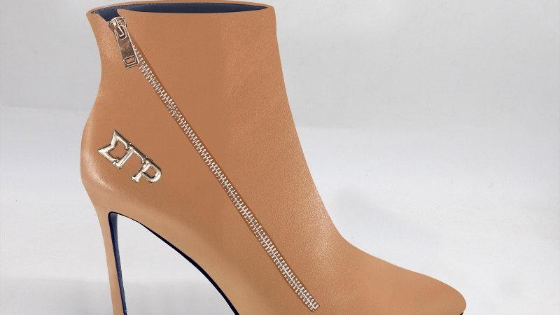 ΣΓΡ Cappuccino Genuine Leather 4in Boots w/ gold embedded buckle