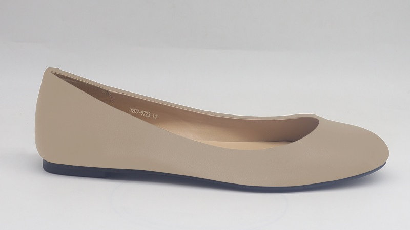 Light Gray Genuine Leather Flats